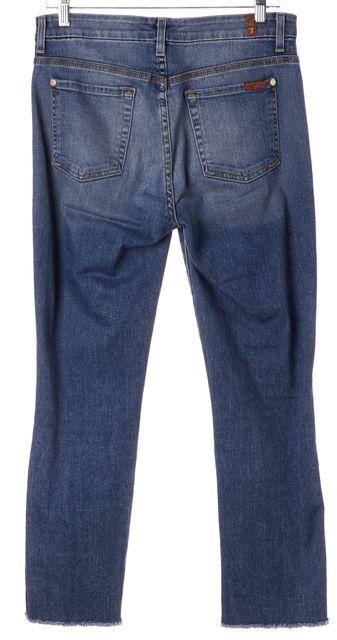 7 FOR ALL MANKIND Blue Medium Wash Cut Off Skinny Jeans