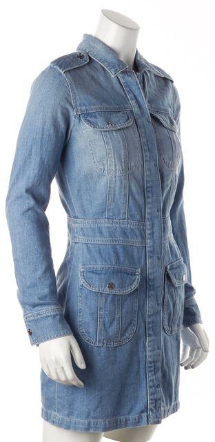 7 FOR ALL MANKIND Blue Denim Button Down Sheath Dress