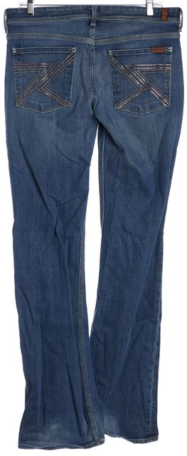 7 FOR ALL MANKIND Blue Bedazzled Back Pocket Flare Jeans