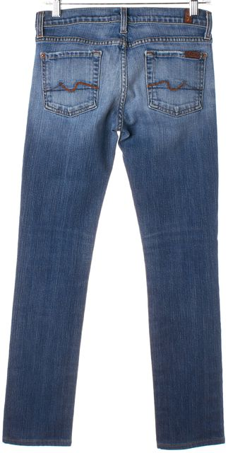 7 FOR ALL MANKIND Blue Skinny Distressed Jeans