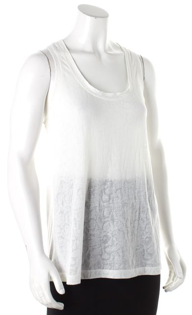 7 FOR ALL MANKIND Ivory Abstract Casual Tank Top