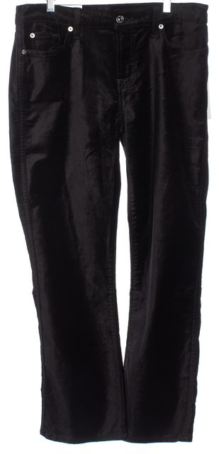 7 FOR ALL MANKIND Black Suede Velvet Boot Cut Jeans