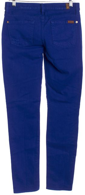 7 FOR ALL MANKIND Royal Blue Distressed The Slim Cigarette Slim Fit Jeans