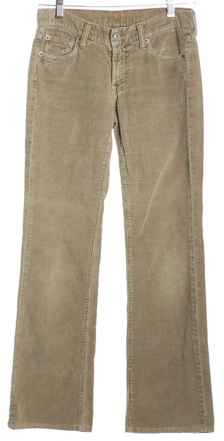 7 FOR ALL MANKIND Beige Button Front Five Pocket Pull On Corduroys Pants