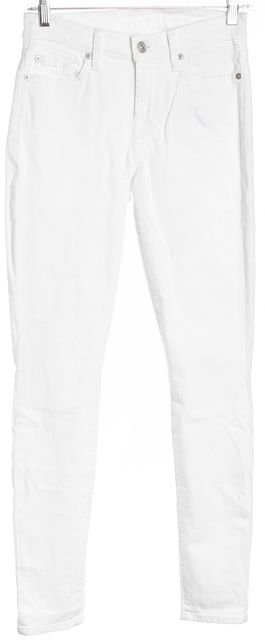 7 FOR ALL MANKIND White Mid-Rise Skinny Jeans