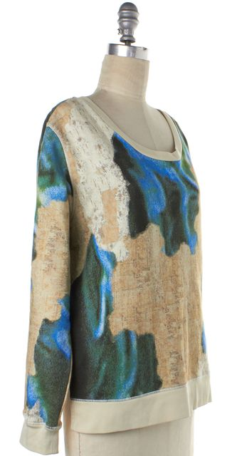 ACNE STUDIOS Ivory Blue Angle Printed SS14 Sweatshirt