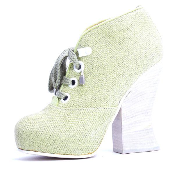 ACNE STUDIOS Mustard Green Tweed Lace Up Stacked Block Platform Booties