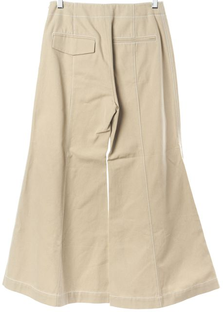 ACNE STUDIOS Beige Olexa Twill Cropped Flare High Waisted Casual Pants