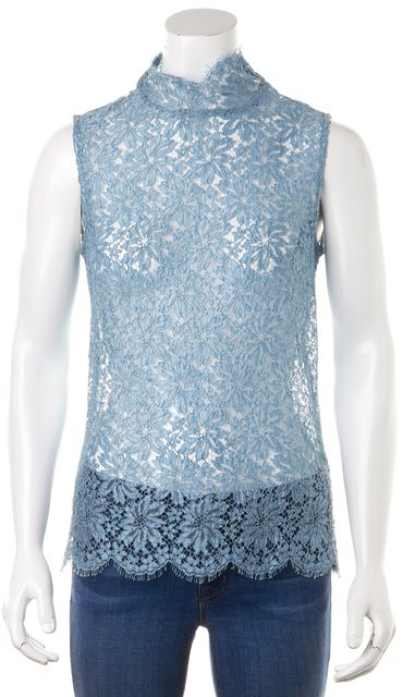 ACNE STUDIOS Blue Sheer Floral Lace Sleeveless Mock Neck Blouse Top