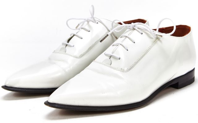 ACNE STUDIOS White Patent Leather Lace Up Pointed Toe Oxfords