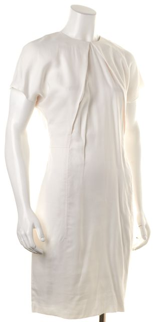 ACNE STUDIOS Ivory Sweety Fluid Pleated Neck Sheath Dress