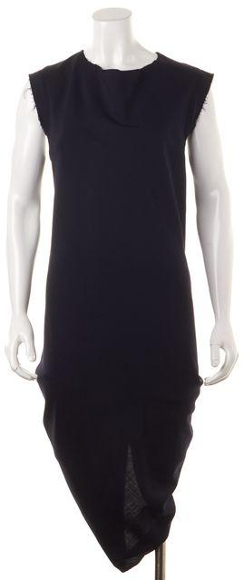 ACNE STUDIOS Navy Blue Wool Calliste Tela Raw Edges Sheath Dress