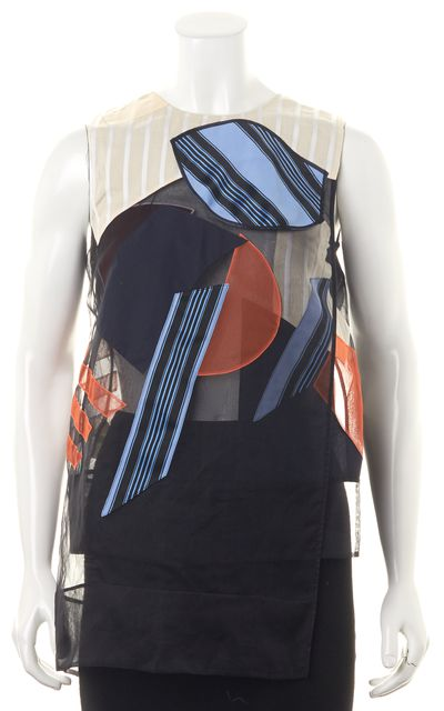 ACNE STUDIOS Black Blue Abstract Silk Gladis Patch Sheer Blouse Top