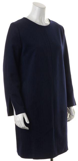 ACNE STUDIOS Navy Blue Wool Long Sleeve Paisley Shift Dress