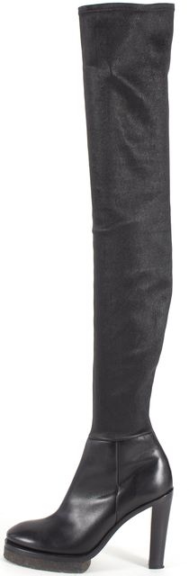 ACNE STUDIOS Black Leather Zip Side Over Knee Boots Thigh High Tall Boots