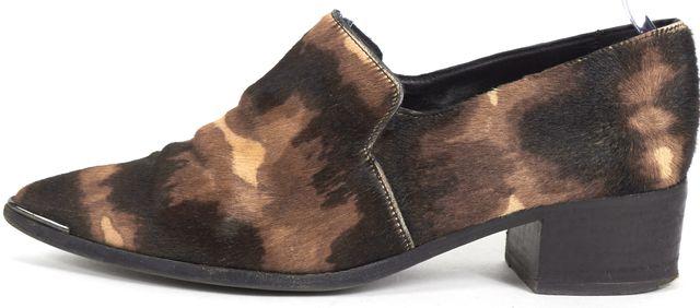 ACNE STUDIOS Beige Brown Calf Hair Pointed Toe Block Heel Loafers