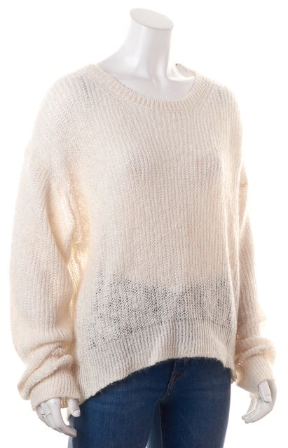 ACNE STUDIOS Off White Linen Open Knit Relaxed Fit Sweater Top