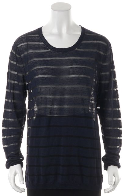 ACNE STUDIOS Blue Black Striped Sheer Linen Long Sleeve Colt Knit Top