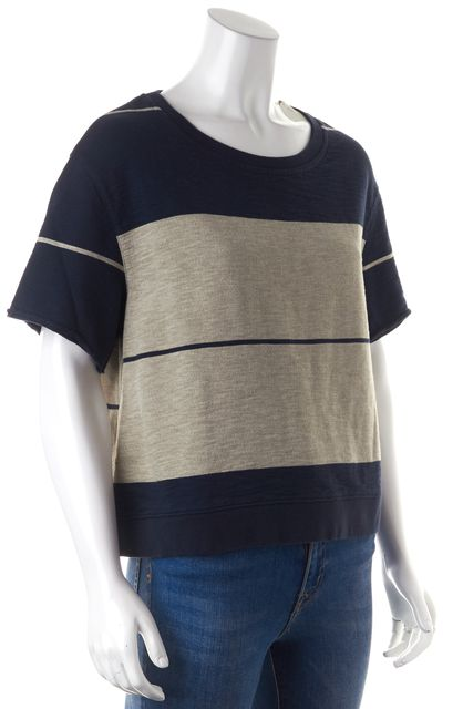 ACNE STUDIOS Blue Gray Striped Wonder Short Sleeve Oversized Knit Top
