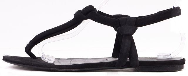 ACNE STUDIOS Black Suede Knot Arbor Flat T-Strap Sandals
