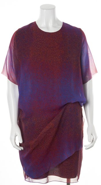 ACNE STUDIOS Red Blue Abstract Mallory Noise Shift Dress