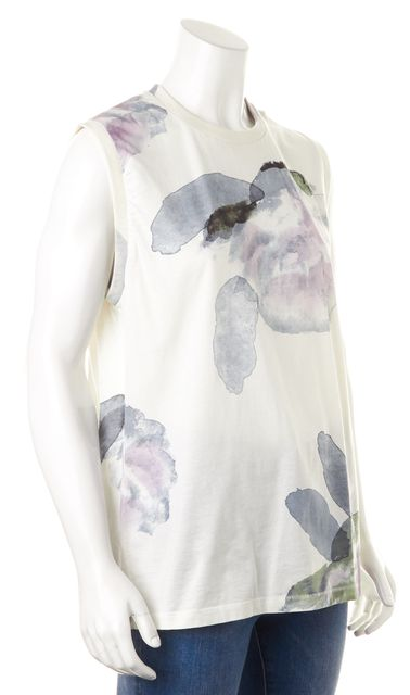 ACNE STUDIOS White Blue Purple Watercolor Abstract Tank Top