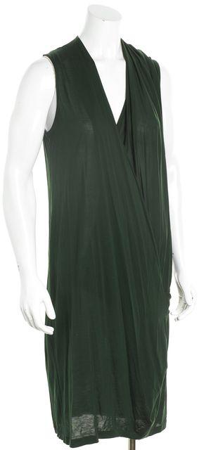 ACNE STUDIOS Dark Green Sleeveless Blouson Drape Dress