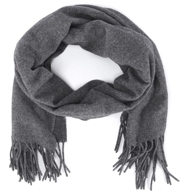 ACNE STUDIOS Gray Wool Fringed Scarf