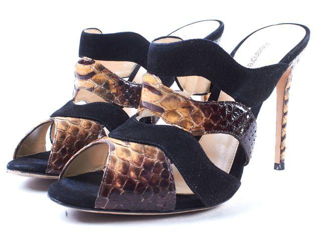 ALEXANDRE BIRMAN Black Suede Snakeskin Cut-Out Peep-Toe Slide On Mule Size 36