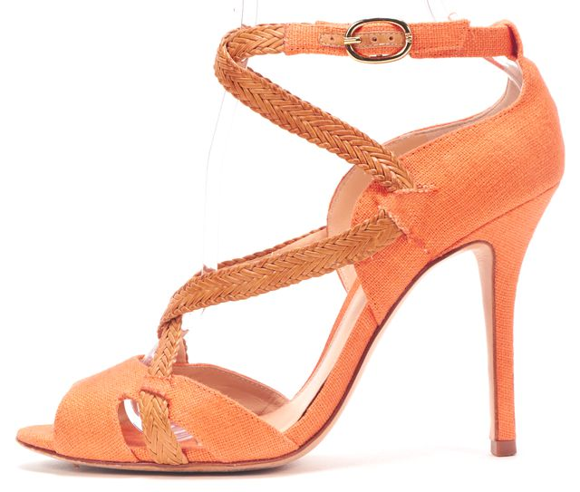 ALEXANDRE BIRMAN ALEXANDER BIRMAN Orange Canvas Woven Leather Multi Strap Sandal Heels