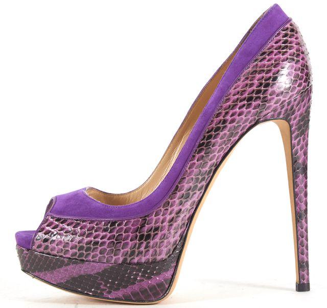ALEXANDER BIRMAN Purple Suede Python Peep Toe Platform Pumps