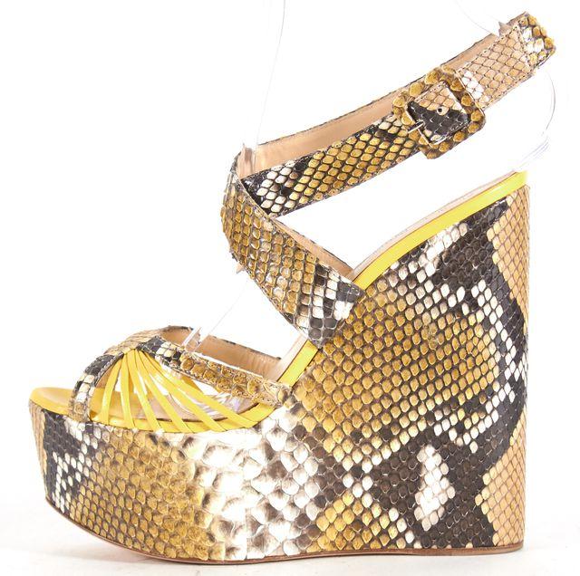 ALEXANDER BIRMAN Yellow Beige Python Leather Wedged Sandals