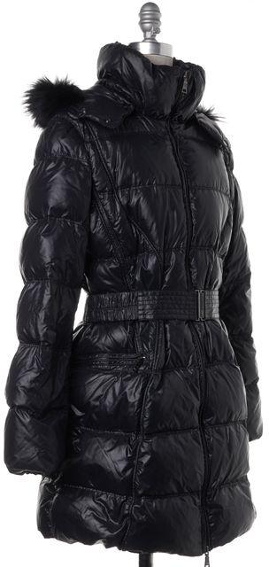 ADD Black Puffer Fur Trim Hooded Coat