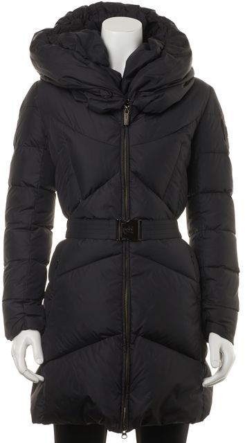 ADD Dark Blue Long Puffer Hoodie Front Zip Coat