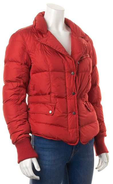 ADD Red Quilted Belted Button Front Down Puffer Jacket