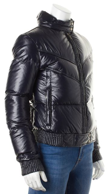 ADD Dark Navy Blue Zip Up Winter Puffer Coat Jacket
