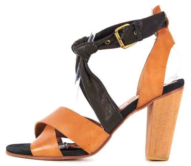 A DÉTACHER A DÉTACHER BrownBlack Leather Cross Front Heel Sandal