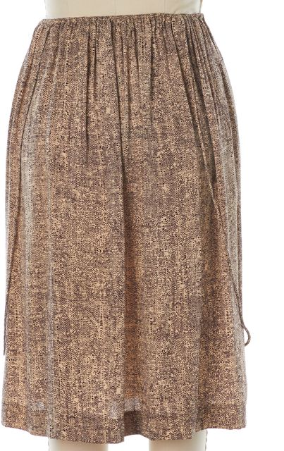 A DÉTACHER Beige Brown Animal Print Silk Elastic Waist Straight Skirt