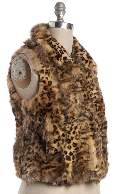 ADRIENNE LANDAU Brown Cheetah Print Fur Vest