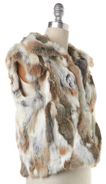 ADRIENNE LANDAU Beige Brown White Rabbit Fur Vest