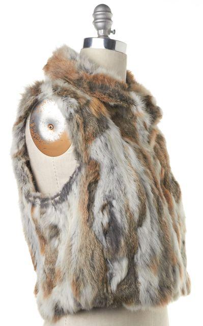 ADRIENNE LANDAU Brown Rabbit Fur Vest Jacket