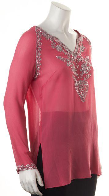 ADRIENNE LANDAU Pink Embellished Silk Blouse Top