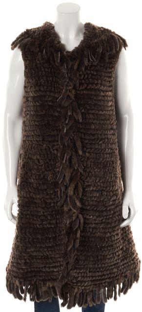ADRIENNE LANDAU Brown Rabbit Fur Hooded Vest