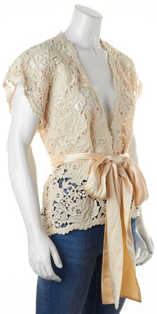 ADRIENNE LANDAU Ivory Heavy Guipure Lace Wrap Top