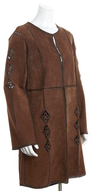 ADRIENNE LANDAU Brown Long Sleeve Open Front Leather Crochet Jacket