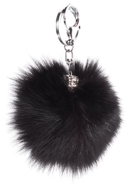 ADRIENNE LANDAU Jet Black Chrome Toned Hardware Fox Fur Key Holder Bag Charm