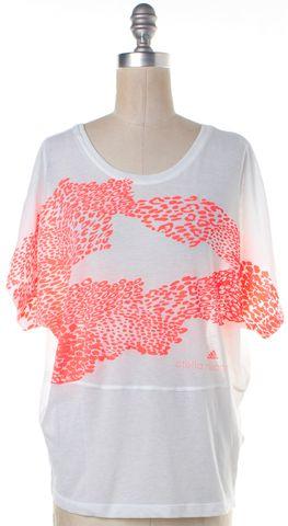 ADIDAS BY STELLA MCCARTNEY ADIDAS X STELLA MCCARTNEY White Neon Pink Leopard Print Graphic T-Shirt