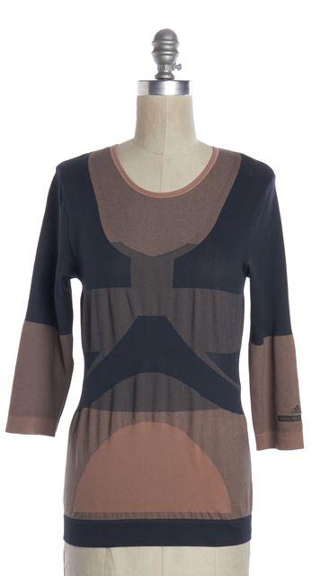 ADIDAS BY STELLA MCCARTNEY Pink Teal Geometric 3/4 Sleeve Basic Tee Top