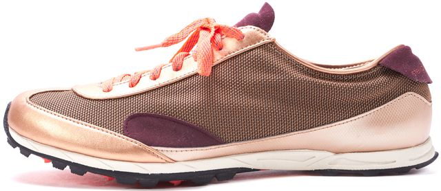 ADIDAS BY STELLA MCCARTNEY Gold Purple Leather Mesh Athletic Sneakers