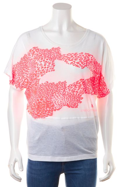 ADIDAS BY STELLA MCCARTNEY White Neon Pink Abstract Print Graphic Top